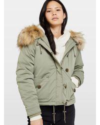 Miss Selfridge Khaki Short Parka Coat - Green