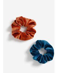 Miss Selfridge 2 Pack Blue And Rust Velvet Scrunchie - Black