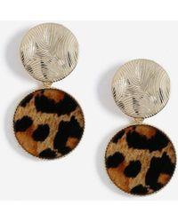 Miss Selfridge - Leopard Print Drop Earrings - Lyst