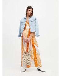 Miss Selfridge Lilac Scarf Print Kimono Sleeve Maxi Dress - Purple