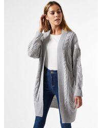 Miss Selfridge Grey Longline Cable Cardigan
