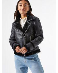 Miss Selfridge Petite Black Pu Aviator Jacket