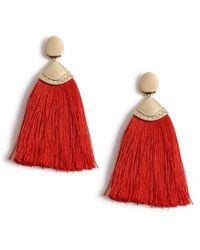 Miss Selfridge - Red Engraved Tassel Earrings - Lyst