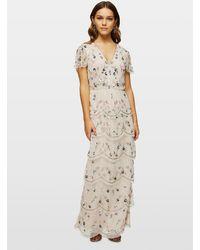 Miss Selfridge Petite Nude Embellished Tiered Maxi Dress - Natural