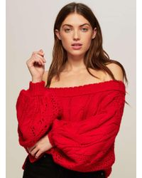 Miss Selfridge - Red Bardot Cable Jumper - Lyst