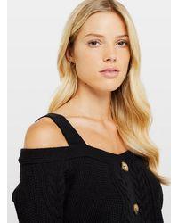 Miss Selfridge Black Strap Bardot Knitted Jumper