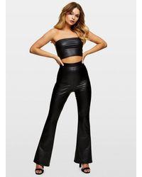 Miss Selfridge Black Pu Kick Flare Trousers