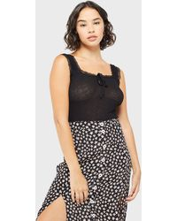 Miss Selfridge Petite Black Lace Trim Top