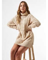 Miss Selfridge Camel Premium Cable Mini Knitted Dress - Natural