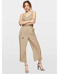Miss Selfridge Taupe Belted Wide Leg Trousers - Natural