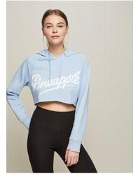 Miss Selfridge - Pineapple Blue Cropped Hoodie - Lyst
