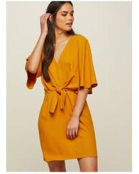 Miss Selfridge - Ochre Tie Front Shift Dress - Lyst