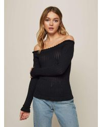 Miss Selfridge - Black Frill Hem Bardot Ribbed Knitted Top - Lyst