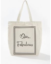 Miss Selfridge - Ivory Miss Fabulous Shopper Bag - Lyst
