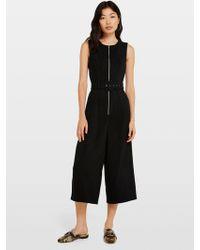 Miss Selfridge Black Zip Front Culotte Jumpsuit