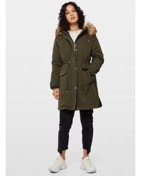 Miss Selfridge Khaki Faux Fur Lined Luxe Parka - Green