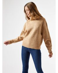 Miss Selfridge Camel Cowl Neck Knitted Sweater - Natural