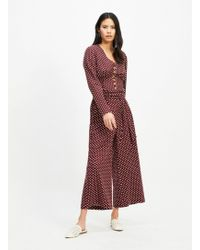Miss Selfridge Red Spotted Linen Paperbag Wide Leg Trousers