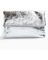 Miss Selfridge Act Silver Fold Over Clutch Bag - Metallic