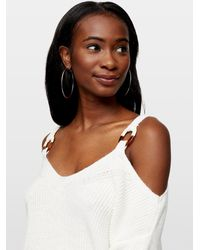 Miss Selfridge Cream O Ring Cold Shoulder Sweater - White
