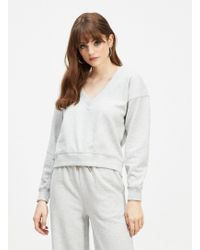 Miss Selfridge - Grey Long Sleeve V-neck Sweatshirt - Lyst