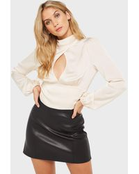 Miss Selfridge Ivory Satin Keyhole Blouse - White