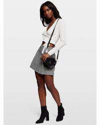 Miss Selfridge Dogtooth Button Kilt Skirt - Black