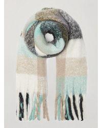 Miss Selfridge Khaki Josie Check Print Scarf - Natural