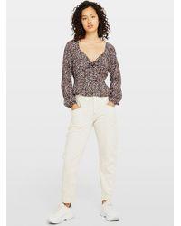 Miss Selfridge White Ecru Contrast Mom Jeans