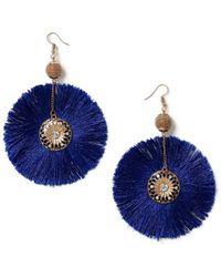 Miss Selfridge - Blue Rhinestone Earrings - Lyst