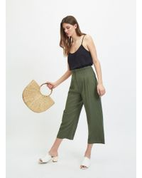 Miss Selfridge Khaki Corset Cropped Trousers - Multicolour
