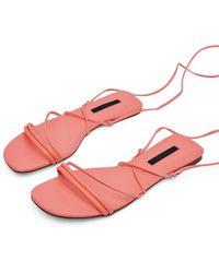 Miss Selfridge Exotic Pink Skinny Ankle Tie Sandals