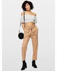 Miss Selfridge Camel Scuba Paperbag Trousers - Natural