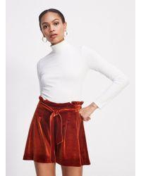 Miss Selfridge - Rust Tie Front Velvet Shorts - Lyst