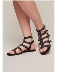 Miss Selfridge Pippa Western Buckle Stud Sandals - Black