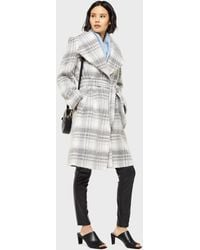 Miss Selfridge Grey Checked Belted Robe Coat