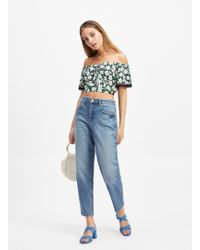 Miss Selfridge Petite Mom High Waist Slim Fit Blue Jeans