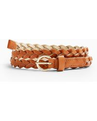 Miss Selfridge Ida 2 Pack Plaited Belts - Metallic