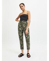Miss Selfridge Khaki Camouflage Utility Trousers - Green