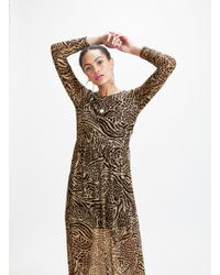Miss Selfridge Black Zebra Print Mesh Midi Dress