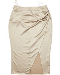 Miss Selfridge Gray Satin Wrap Midi Skirt - Pink