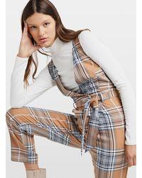 Miss Selfridge Brown Check Print Plunge Jumpsuit