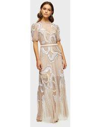 Miss Selfridge Petite Beige Showstopper Maxi Dress - White