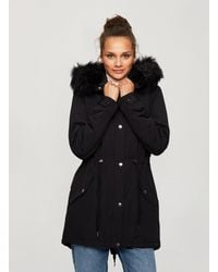 Miss Selfridge Black Faux Fur Hooded Parka