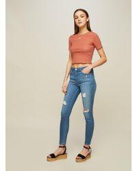 Miss Selfridge - Lizzie High Waist Skinny Mid Wash Ripped Jeans - Lyst