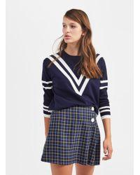 Miss Selfridge - Navy Checked Kilt Skirt - Lyst