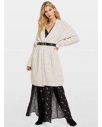 Miss Selfridge Nude Cable Longline Knitted Cardigan - Natural