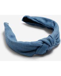 Miss Selfridge Denim Hard Knot Headband - Blue