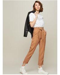 Miss Selfridge - Tan Paper Bag Trousers - Lyst