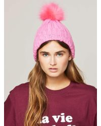 Miss Selfridge - Pink Faux Fur Pom Pom Beanie Hat - Lyst